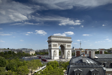 triumphe: the arc de triomphe in paris, france on a sunny day, from a unique vantage point