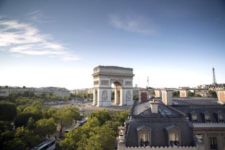 triumphe: the arc de triomphe in paris, france at sunrise from a unique vantage point