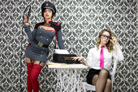 beautiful military boss and her sexy secretary photo