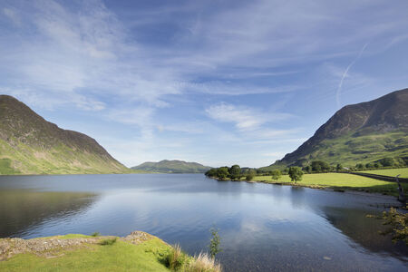 cumbria: beautiful view of buttermere lake in the lake district, cumbria, england on sunny day