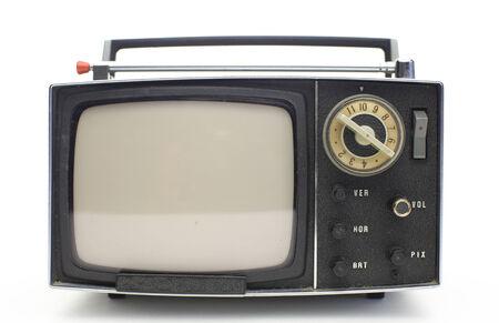 really cool retro vintage portable televison shot against white