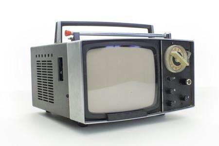 cinematic: really cool retro vintage portable televison shot against white