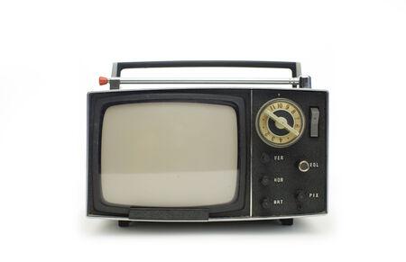 Télévision portable retro vintage vraiment cool tiré contre le blanc Banque d'images - 30597932