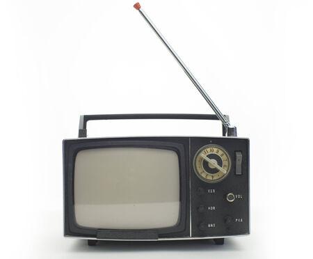 really cool retro vintage portable televison shot against white photo