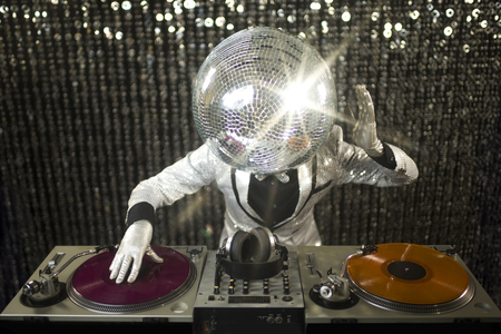 discoball: introducing mr discoball. a cool club character DJing in a club