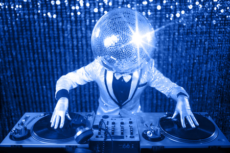 mr: introducing mr discoball. a cool club character DJing in a club