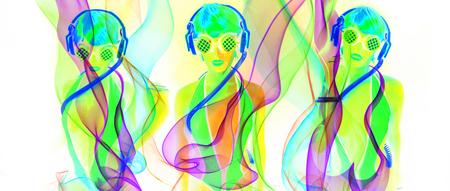 space age: sexy female disco dancer poses in UV costume