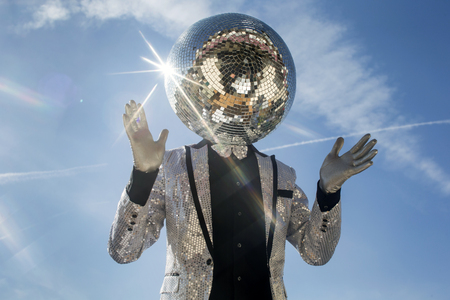 fashion clothing: mr discoball. a super cool disco club character enjoying some summer sunshine