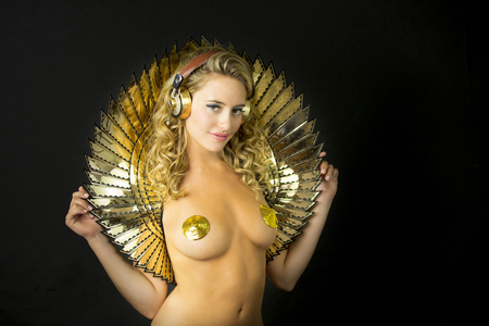 erotic fantasy: beautiful sexy gold disco woman. Perfect for stylish club, disco and fashion events