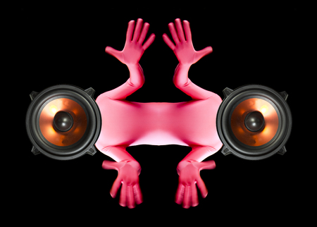 loopy: a strange man with four arms and speakers as a head Stock Photo