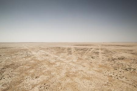desert road: amazing dry lake sahara desert morocco Stock Photo