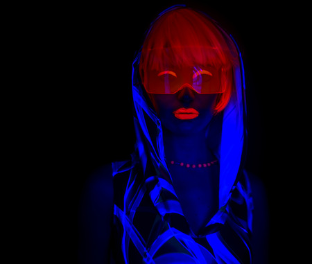 close up shot of sexy female disco dancer poses in UV costume Standard-Bild
