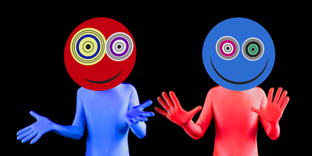 loopy: two alien rave dancers with crazy eyes