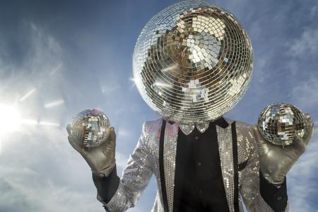 mr: mr discoball. a super cool disco club character enjoying some summer sunshine