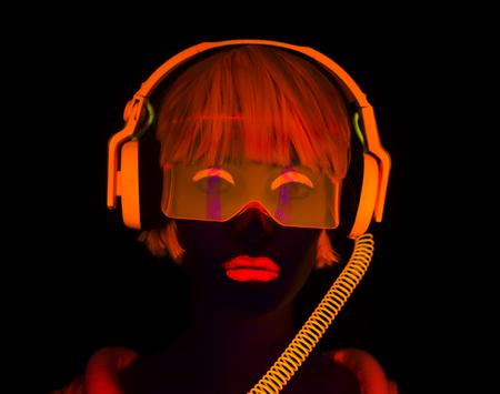 close up shot of sexy female disco dancer posing in UV costume with headphones Standard-Bild
