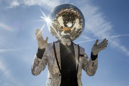 discoball: mr discoball. a super cool disco club character enjoying some summer sunshine