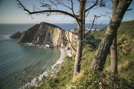 unspoilt: beautiful beach playa del silencio in asturias, spain Stock Photo