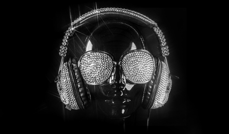 go go dancer: amazing mannequin with crystal headphones and sunglasses Stock Photo
