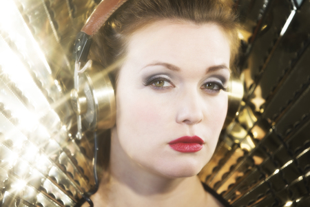 mirrorball: beautiful sexy disco woman, listening to music. Perfect for stylish club, disco and fashion events