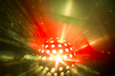 beam: abstract pattersn from disco light shining through fog Stock Photo