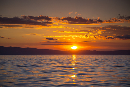 stunning timelapse at sunset over the Adriatic sea in croatia Stock Photo
