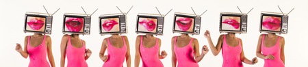 sequence of amazing woman dancing and posing with a television as a head. the tv has an image of luscious women's lips on it Banque d'images