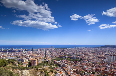 wide angle of barcelona shot from the bunkers de carmel offering amazing panoramic views over the city skyline