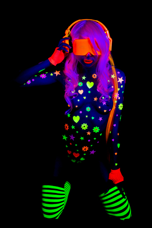glow uv neon sexy disco female cyber doll robot electronic toy