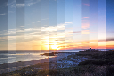 sunset of larino beach on the coast of galicia, spain. this image is made up of strips from different moments during the sunset