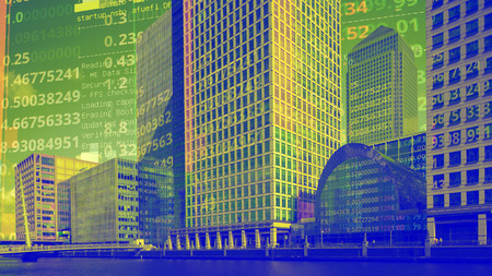 london docklands with data and computer programming information mapped onto each building face Stock Photo