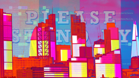 amazing london cityskyline  with television glitch and distortion mapped over the buildings.