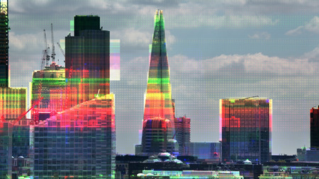 london city with television glitch and distortion mapped over the skyline