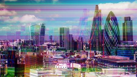 Ciudad de Londres con falla de televisión y distorsión mapeada sobre el horizonte