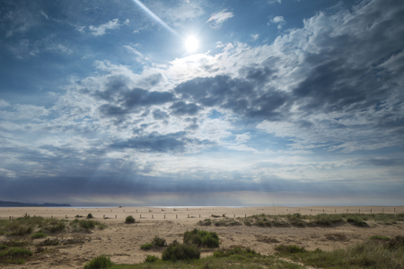 moody cloudy morning of the dune beach at san pere pescador in catalunya, spain
