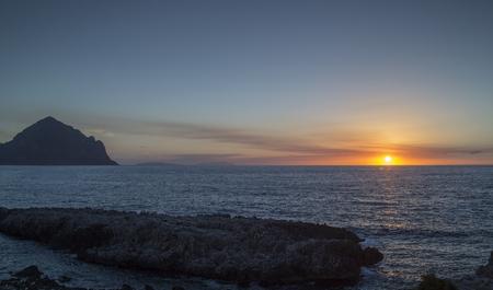 sunset at san vito lo capo, in Sicily, Italy.