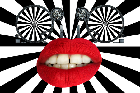 vinyl record player as eyes and red lips with hypnotic pattern