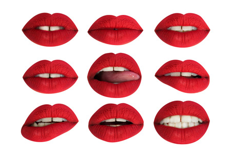 different images of close-up of woman's beautiful full red lips Banque d'images