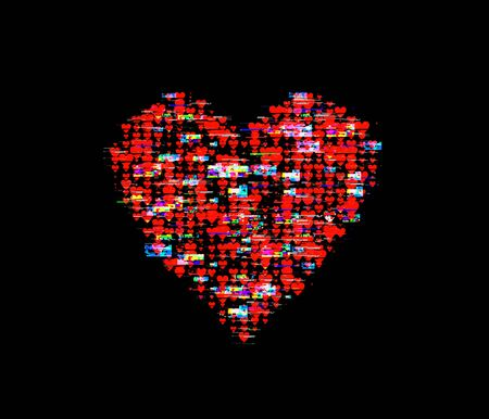 a heart hape made from lots of distorted heart images