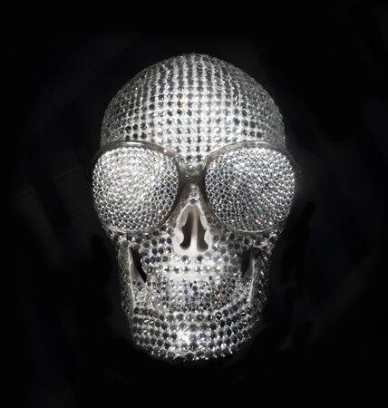 amazong diamond covered skull with sunglasses. this is a unique handmade object from our studio