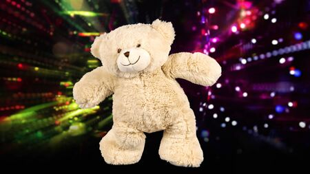amazing funky teddy bear brought to life dancing in a disco setting Stok Fotoğraf