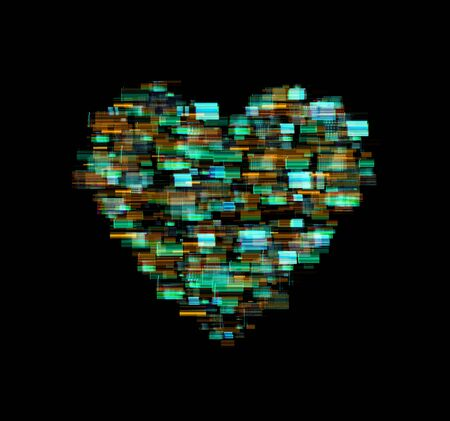a heart shape with glitch and distortion