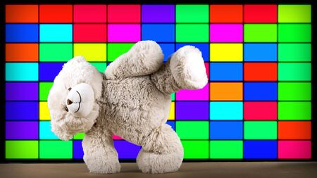 amazing funky teddy bear brought to life break dancing in a disco setting