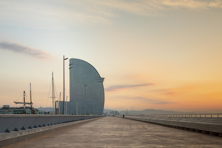 the W hotel in barcelona at sunrise with the mediterranean sea in the background Publikacyjne