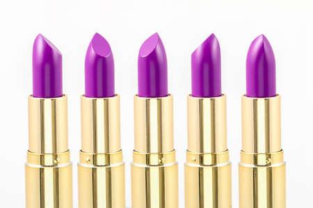 Close up of purple lipsticks in studio