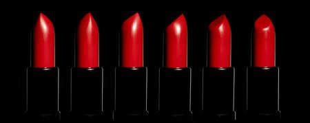 A row of red lipsticksin studio