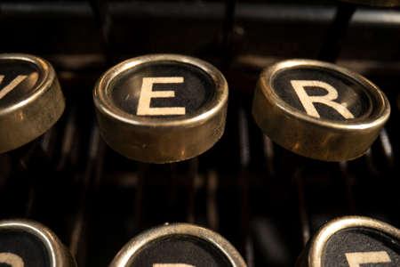 close-up shot of vintage typewriter keys 스톡 콘텐츠