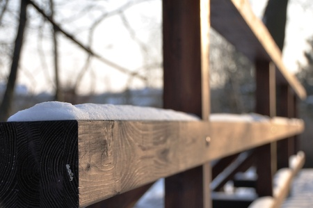 Wooden fencing in winter Stock Photo