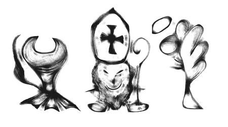 nicholas: Black and wait draw of saint Nicholas with devil and angel