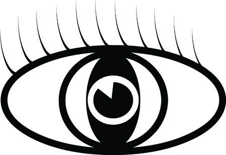 Black vector eye symbol illustration with eyelash Vector