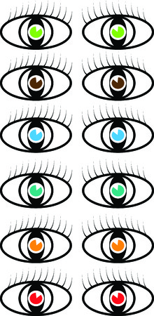 Set of vector colored eye symbol illustrations with eyelashes Vector